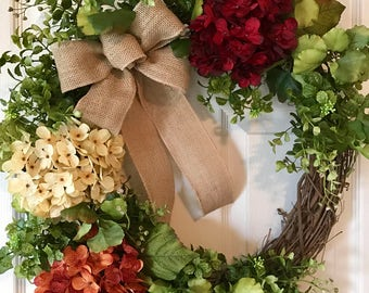 Spring Wreath for front door, Fall Wreath,Summer Wreath,Grapevine Wreath, Customized Wreath,Hydrangea Wreath,Front Door Wreath,Boxwood Wrea