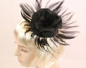 Black Fascinator Black Cocktail Hat Black Sinamay Hat with Feathers Black Rose