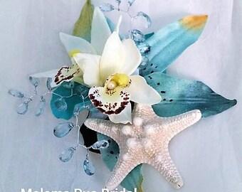Beach Wedding TROPICAL HAIR CLIP Hawaiian Orchids silk flowers Bridal Hair piece, Headpiece, Hair Accessory, Bridesmaid, Wedding, Starfish