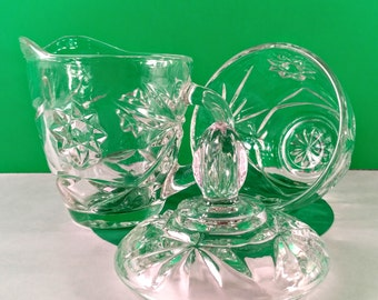 Anchor Hocking Early American Prescut Cream and Sugar Set. Mid Century Star & Fan Pressed Glass. 1960's  Kitchen Decor.