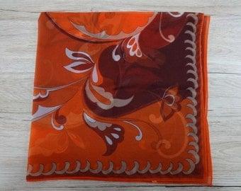 Vintage Retro Orange Brown Floral scarf 64cm x 65cm