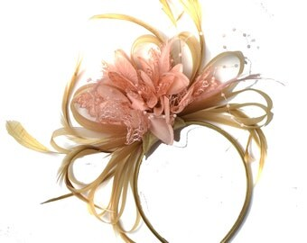 Champagne Gold Beige Camel and Peach Salmon Pink Fascinator on Headband Alice Band UK Wedding Ascot Races Derby