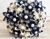 Paper Flower wedding bouquet Kududama origami ivory white paper lace midnight navy blue theme bridal pearl diamante brooch buttons jute