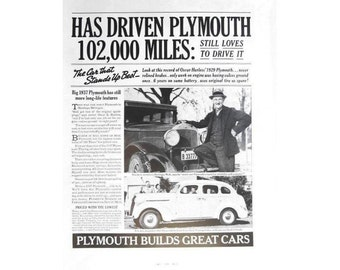 Vintage 1937 newspaper poster ad for Plymouth   - 29