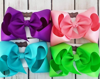 10 Exlarge  Basic Boutique  Bows Hairbows Solids School Grosgrain Jumbo Choose 10