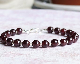 Garnet Bracelet, Seed Bead Bracelet, Gemstone Bracelet, Stacking Bracelet, Beaded Bracelet, Minimalist Bracelet, Red And Silver Bracelet
