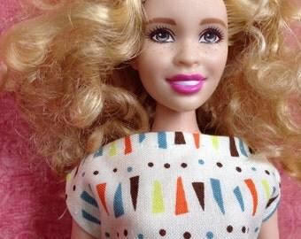 "HautePoppet ""Audrey"" style dress for curvy barbie/lammily size dolls"