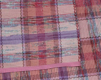 Handwoven Rag Rug Runner 74 inches long 33 inches wide in Pink and Purple