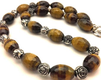 Vintage Golden Brown Tiger Eye Genuine Facet Oval Bead  Elegant Women Handmade Necklace Long 20.0""