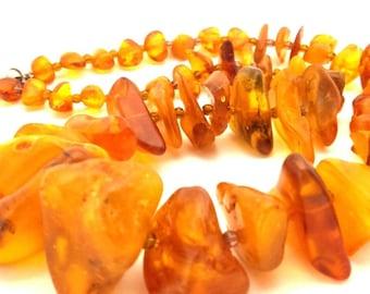 Vintage Amber Baltic Necklace Genuine 75.17 Gr Egg Yolk Cognac Color Huge Stone (QT013)