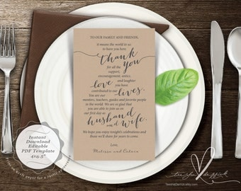 Wedding Place Setting Thank You Card, Instant Download Editable PDF Template, Kraft Wedding Thank you card in PDF template (y0112)
