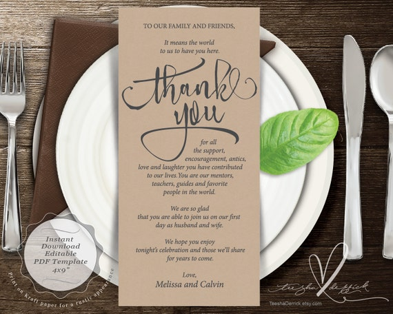 wedding place setting thank you card instant download