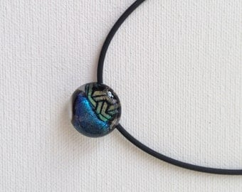 Glass Mini Necklace with sterling silver and dichroic glass