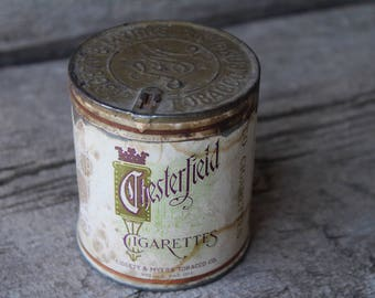 Chesterfield Cigarettes Round Paper Label Tobacco Advertising Tin
