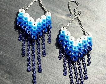 Geometric Earrings, Colorful Earrings, Quirky Jewelry, Chevron Earrings, Zig Zag, Stripe Earrings, Plastic Earrings, Retro Earrings, Gifts