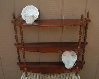 Vintage Large Jenny Lind Style Tea Cup Hanging Wall Display Shelving Unit 15 Cups and Saucers Retro Curio Shelf Displa Rack