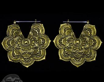 14G Mandala Brass Earrings / Ear Weights