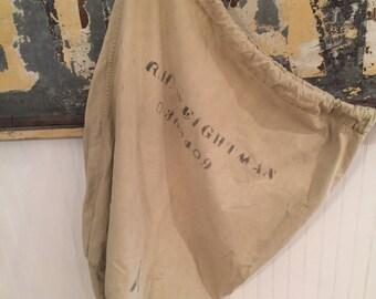 Vintage Military Duffel bag with identity/canvas duffel bag/duffel bag