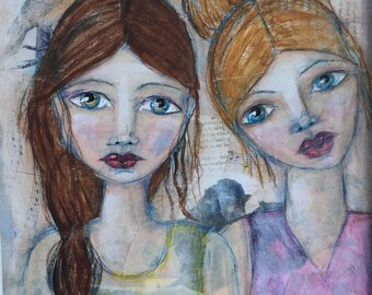 birds of a feather - a mixed media painting
