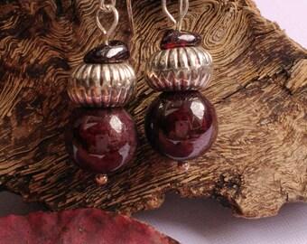 Small GARNET earrings Silver 925 dangle Sterling silver earrings red semi precious stone