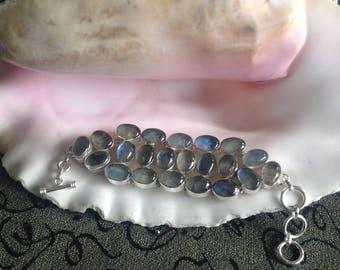 VALENTINES Sale: Beautiful Blue Labradorite Multi Sone Bracelet - Vintage Labradorite Bracelet - Labradorite Bracelet - Labradorite Vintage