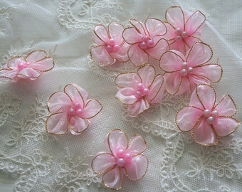 """1.5"""" pink Organza with faux pearl Flower Appliques - 30pcs"""