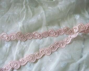 """1 1/4"""" (33mm) pink venise lace trim - 4 yard"""