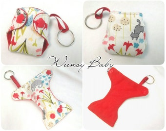 "Cloth Diaper keychain Kitty Garden print 2"" Basic Diaper key chain diaper key fob"