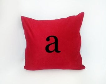 Initial Pillow - Vegan Suede Throw Pillow - Accent Pillow with Zipper - 18 x 18 Throw Pillow - 24x24 Pillow - Lumbar Pillow - Home Decor