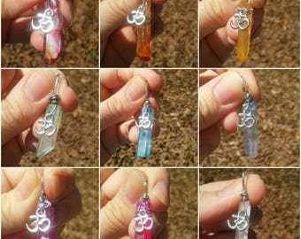 Aura crystal with om charm pendant necklace. 9 different colors to choose from.