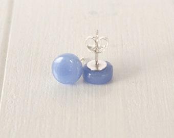 Cornflower Blue Glass Stud Earrings - Blue Glass Sterling Silver Stud Earrings - Gift for her - Gift for Mum - UK Seller - Bridesmaid Gift