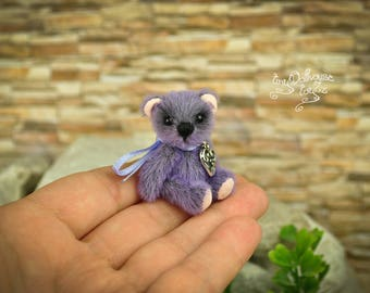 Miniature bear artist Teddy Bear OOAK 4 cm toyZZ exclusive gift gift tiny Dollhouse kawaii Blythe good luck talisman