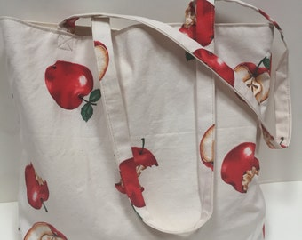 Handmade Apple Canvas Tote Bag with 2 inside pockets