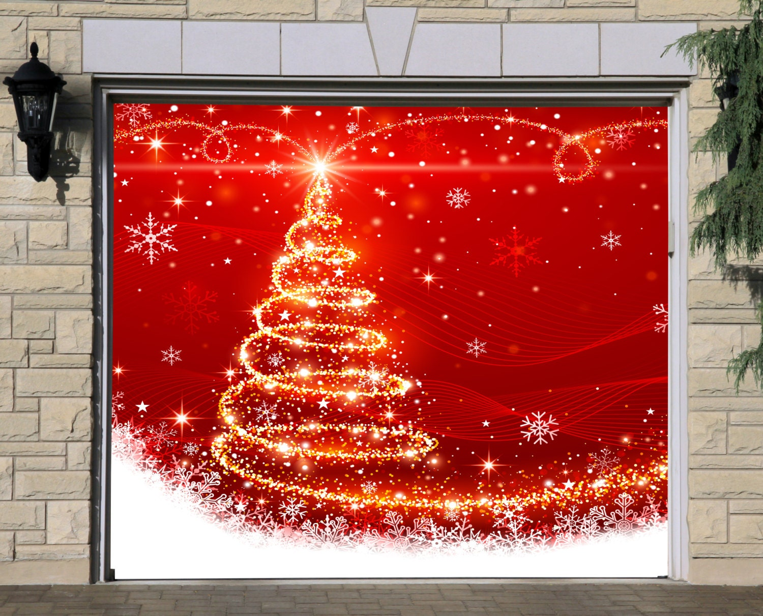 Single Garage Door Covers Christmas 3D Banners by DecalHouse