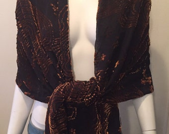 Vintage burnout scarf shawl wrap oversized bohemian gypsy traveller hippie chic gorgeous black coffee