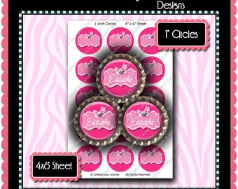 Editable Bottle Cap Images Instant Download JPG & PDF Formats - Pastel Bow Hot Pink (ET210) Digital Bottlecap Collage Sheet