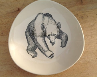 Vintage Plate 1960s Stavangerflint - the Bear     - Animals of Norway - By Ridley Borchgrevink - Mid Century Design