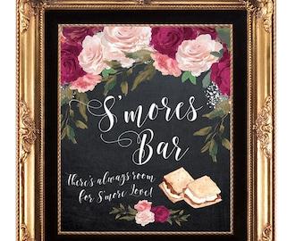 smores bar sign, smore love sign, floral smores bar sign, printable smores Bar sign, digital smores bar sign, chalkboard smores bar, 8 x 10