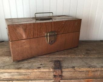 Ballanoff Porta File Faux Woodgrain Metal Box