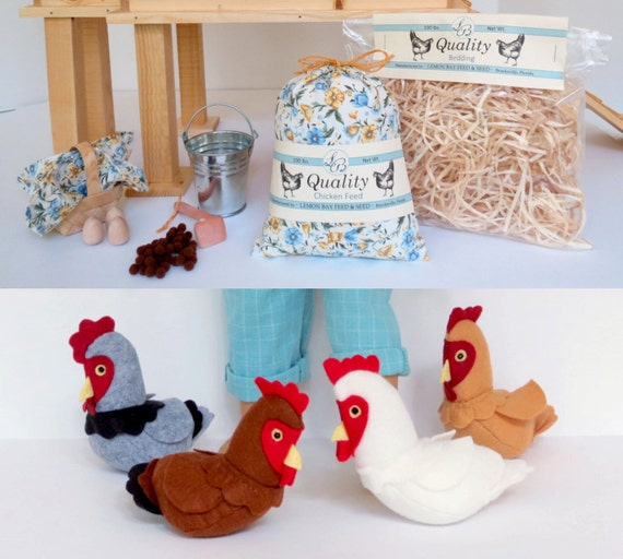 Doll CHICKEN KEEPING ACCESSORIES Handcrafted for 18 Inch dolls such as American Girl®  Feed sack, wood eggs, basket, with options for hens