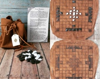 Large Hnefatafl Leather Game Pouch - Made to order