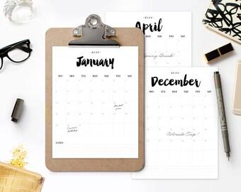 2018 Printable Calendar - Modern Calendar Planner - BRUSHED CHARM - Instant Download