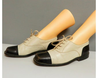 Vintage 30s style woman black/white leather shoes 36/36,5