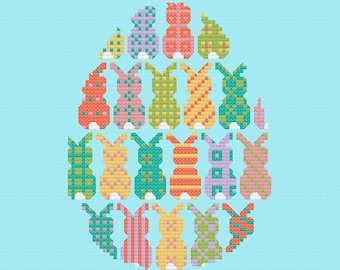 Easter Bunnies Cross Stitch Pattern PDF ** Instant Download **