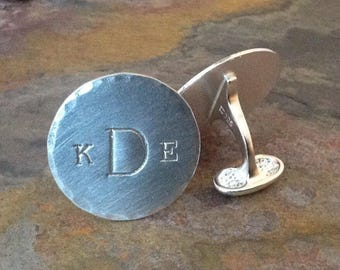 Hand Stamped Personalized Sterling Silver Cuff Links - Monogram - Groom, Groomsman, Father - Customize Your Way