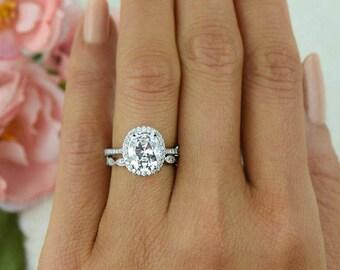 15 ctw Oval Halo Wedding Set Vintage Style Bridal Rings Man