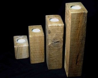 Oak Beam Tea Light Holders, 1x set of 4, Rustic, Reclaimed oak beams.