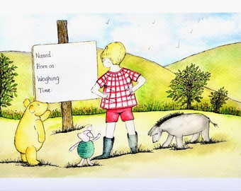 New Born Art Work. An A3 un-mounted print of vintage classic characters viewing a notice announcing a birth.