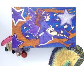 Large Jewellery Box/ Fairy Box/ Child/ Teen/Bedroom Decor/Present/ Wooden/Mirror/ Gifts For Girls /Fae /Faerie Keepsake/ Mystical/
