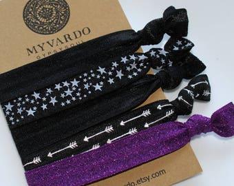 Halloween Hair Ties, Purple Hair Ties, Halloween Hair Band. Black Hair Tie Bracelets, Gothic Hair Accessories, Witchy Clothing, Gypsy Style